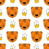 Baby tiger with crown seamless pattern. Child drawing style wild animal background. Stock Images