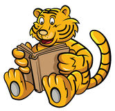 Baby Tiger Learning with Book Royalty Free Stock Photography