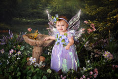Baby Tinkerbell. A beautiful baby girl with sparkly wings in fairyland Stock Image