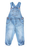 Baby toddler blue jean overall isolated on white. Royalty Free Stock Images