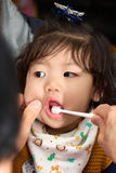 Baby toddler brushing teeth before sleep Stock Photo