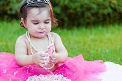 Baby toddler girl in first birthday anniversary party Stock Photography