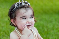 Baby toddler girl in first birthday anniversary party Stock Image