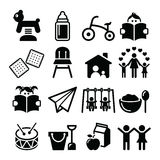 Baby or toddler in nursery or day care icons set Stock Photography