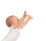 Baby toddler raise hands up for text copy space isolated Stock Photos