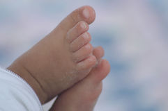 Baby toes with sand on them from the beach. Tiny baby toes on beach with sand Royalty Free Stock Photos