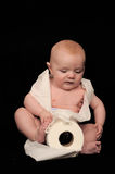 Baby with toilet paper Royalty Free Stock Photos