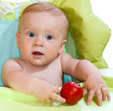 Baby and tomato. Baby boy and red tomato in his hands Stock Image