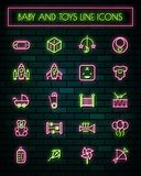 Baby tools thin neon glowing line icons set.vector illustration.  vector illustration