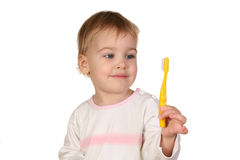 Baby with tooth brush. Isolated Royalty Free Stock Image