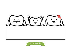 Baby tooth in funny family - first teeth concept - cartoon vector outline style. Baby tooth in funny family - first teeth concept - dental cartoon vector outline Royalty Free Stock Images