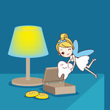 Baby tooth with tooth fairy. Cartoon Baby tooth with tooth fairy in the room, great for health dental care concept stock illustration
