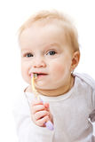 Baby with toothbrush Stock Photography