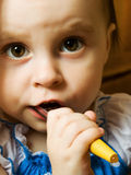 Baby with toothbrush Royalty Free Stock Photo