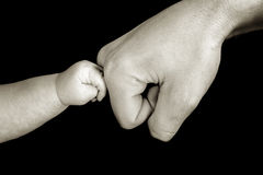 baby touching dad Royalty Free Stock Images