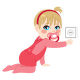 Baby Touching Uncovered Socket Royalty Free Stock Images