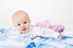 Baby on a towel Stock Photo
