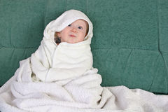 Baby with towel stock photos