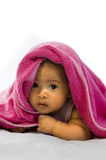 Baby in the Towel. Cute baby in the towel on white background Stock Photos