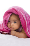 Baby in the Towel. Cute baby in the towel on white background Royalty Free Stock Image