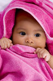 Baby in the Towel. Cute baby in the towel on white background Royalty Free Stock Photography