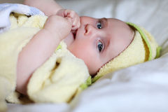 Baby in towel with blue eyes Stock Photography