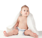 Baby in a towel isolated Stock Photos