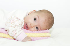 Baby on towels Stock Photo