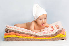 Baby on towels Royalty Free Stock Photography