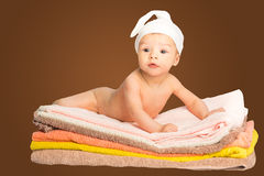 Baby on towels Royalty Free Stock Photo