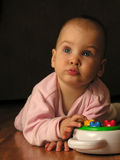 Baby with toy. Portrait stock photography