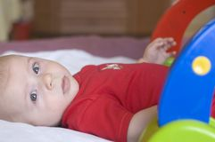 Baby with toy. Portrait Royalty Free Stock Photography
