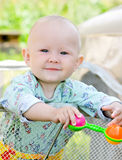 Baby with toy. Happy baby with toy. Shallow DOF Royalty Free Stock Images