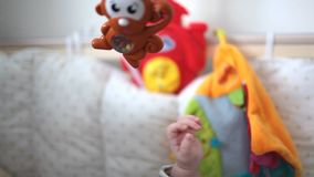 Baby toy for baby blue. Close up stock video footage