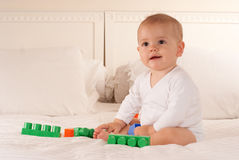 Baby and toy bricks Royalty Free Stock Photography