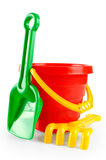 Baby toy bucket and shovel rake Royalty Free Stock Photography