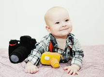 Baby with a toy camera Royalty Free Stock Photos