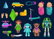 Free Baby Toy, Car, Robot, Doll, Bear And Scooter Icons Royalty Free Stock Images - 164222639