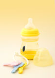 Baby toy composition. Pretty baby composition in yellow Stock Photography