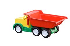 Baby toy dump truck isolated on white. Bright baby toy dump truck isolated on white Royalty Free Stock Image