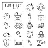 Baby and toy icons. Simple and thin line design Stock Photos