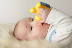 Baby with Toy in Mouth Stock Photos