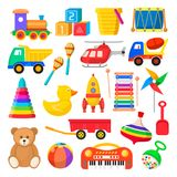 Baby toy set. Cute object for small children to play with, wooden and plastic toys, stuffed animals, fun and activity. Vector flat style cartoon illustration stock illustration