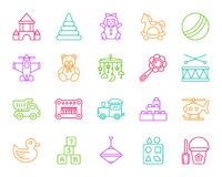 Baby Toy simple color line icons vector set stock illustration