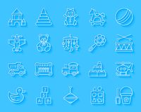 Baby Toy simple paper cut icons vector set vector illustration