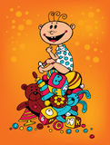 Baby with toys. Vector illustration Stock Image