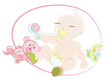 Baby with toys Royalty Free Stock Images
