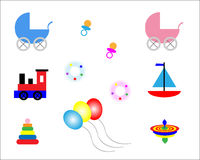 Baby toys. Baby boy and girl toys isolated on white background, vector Royalty Free Stock Images