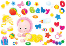 Baby and toys Royalty Free Stock Image