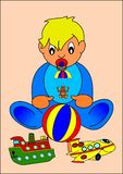Baby and toys. Baby children toys illustration kid people stock illustration